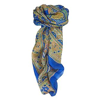 Mulberry Silk traditional Square eșarfă GaNdAk Blue de pashmina & Silk