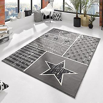 Design patchwork de velours tapis Etoiles Grau 140 x 200 cm | 102397
