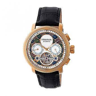 Heritor Automatic Aura Men's Semi-Skeleton Leather-Band Watch - Rose Gold/White