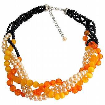 Fall Jewelry Fall Color Black Orange Peach Braid Necklace