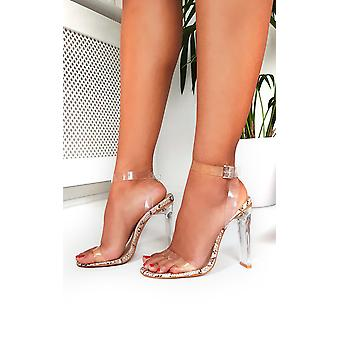 IKRUSH Womens Tempany Barely There Perspex Heels