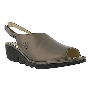 Womens Fly London Palp Idra Leather Peep Toe Slingback Wedge Heel Sandals