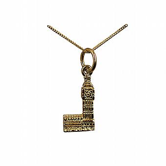 9ct Gold 15x8mm Big Ben Pendant with a curb Chain 20 inches