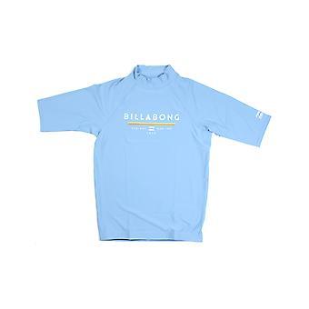 Billabong Unity Short Sleeve Rash Vest in Aqua Blue
