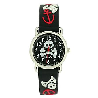 Zitrone-Boys Pirate Skull schwarz & Crossbones Silikon Strap Watch KID42