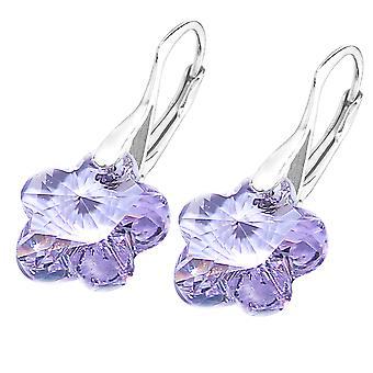 Ah! Bijoux en argent sterling violet cristaux de Swarovski fleur boucles d'oreilles, estampillé 925