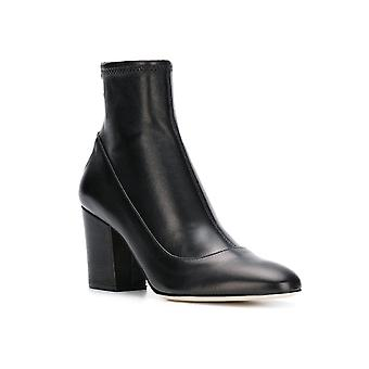 Sergio Rossi Women's square heeled mid-calf booties in black Soft leather