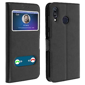 Double window flip standing case Asus Zenfone Max M1 ZB555KL, TPU shell - Black