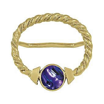 Eternal Collection Maxi Purple Paua Shell Large Gold Scarf Ring