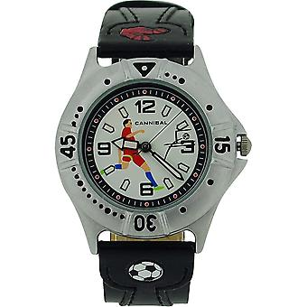 Kannibale aktive Boys schwarz PU Armband Kinder Fußball Watch CJ191-03