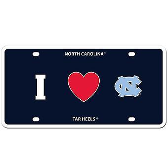 "North Carolina Tar Heels NCAA ""I Heart"" License Plate"