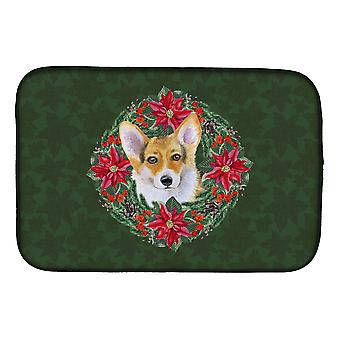 Carolines Treasures  CK1508DDM Pembroke Corgi Poinsetta Wreath Dish Drying Mat