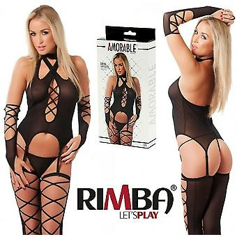Amorable' by Rimba Lingerie Sheer 6 Piece Camisole Set With Stockings