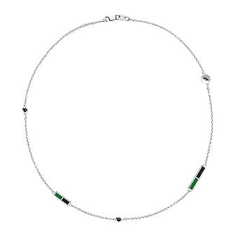 University of North Texas Black Onyx Chain Necklace In Sterling Silver Design by BIXLER