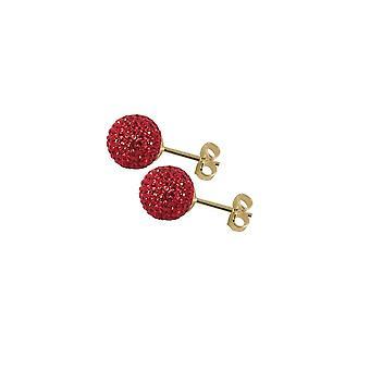 Éternelle Collection Shamballa 8mm rouge scintillant doré à rotule boucles d'oreilles