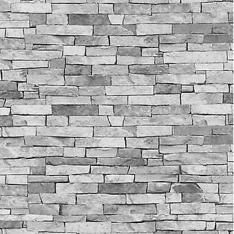 3D Stone Slate Brick Effect Wallpaper Grey Rock Wall Realistic Weathered P+S