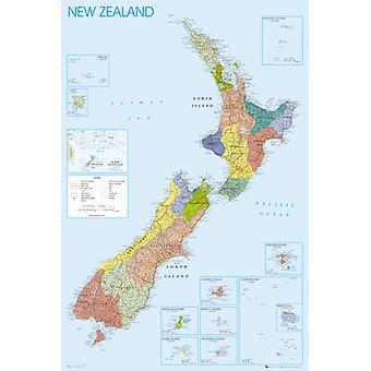 Nouvelle Zélande carte Maxi Poster 61x91.5cm