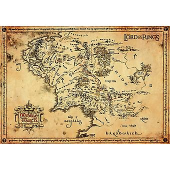 Lord of Rings pergament kort pergament plakat 47x67cm