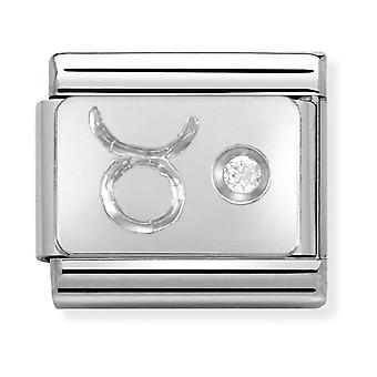 Nomination Classic Taurus Zodiac Steel, CZ and 925 Silver Link Charm 330302/02
