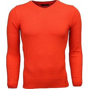Casual Sweater - V-Neck - Orange