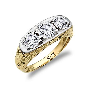 Jewelco London Men's Solid 9ct Yellow and White Gold White Round Brilliant Cubic Zirconia 3 Stone Trilogy Carved Gypsy Ring