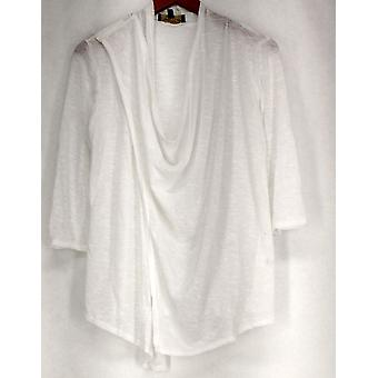 Nancy O'Dell Sweater 3/4 Sleeve Sweater Knit Cross Over Tunic White A425005