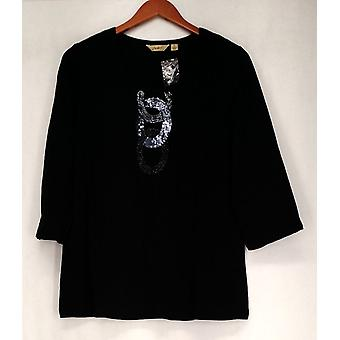 Motto 3/4 Sleeve Embellished Pull Over Black Top Womens