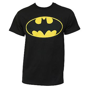 Batman clássico amarelo morcego logo Graphic Men ' s preto T-shirt