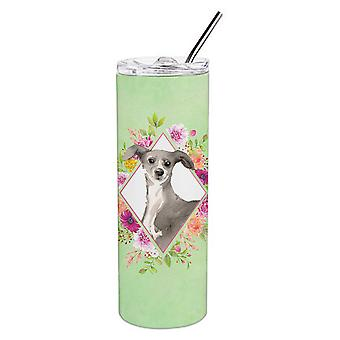Italian Greyhound Green Flowers Double Walled Stainless Steel 20 oz Skinny Tumbl