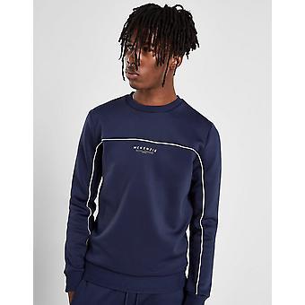 Nuovo McKenzie Uomo's Essential Poly Crew Sweatshirt Navy