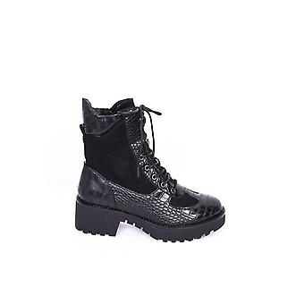 Cleated Block Heel Lace Up Croc Patent Ankle Boots Noir