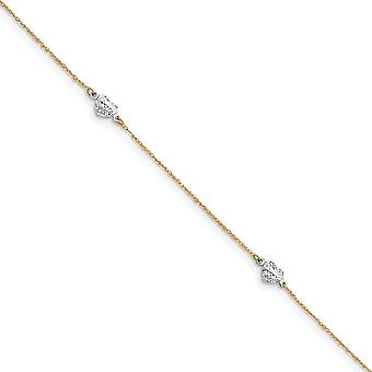 14k Two Tone Polished Spring Ring Gold Puff Love Heart 9inch With 1in Ext Anklet Jewelry Gifts for Women