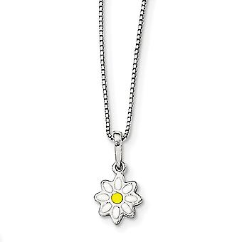 925 Sterling Silver Enamel Flower Necklace 15 Inch - 2.6 Grams