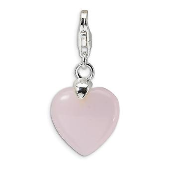 925 Sterling Silver Fancy Lobster Closure Rose Quartz Love Heart With Lobster Clasp Charm Pendant Necklace Measures 28x1