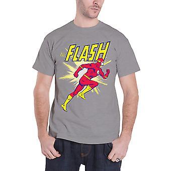The Flash T Shirt Mens Flash Running vintage retro new Official DC Comics Grey