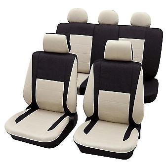 Black & Beige Elegant Car Seat Cover set For Honda Civic 1999-2001