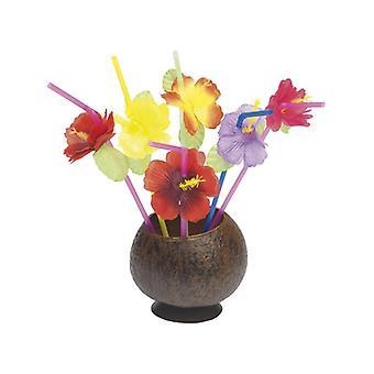 Hawaiian Straws, Mixed, with Flowers, 12 Straws Per Pack Fancy Dress Accessory