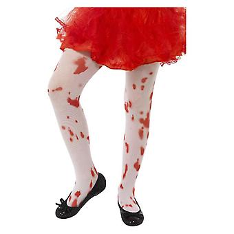 Girls White Tights with Blood Stain Print Age 6-12 Fancy Dress Accessory