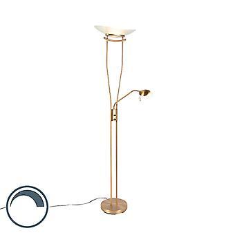 QAZQA Lampe de sol moderne bronze incl. LED et gradateur - Lexus