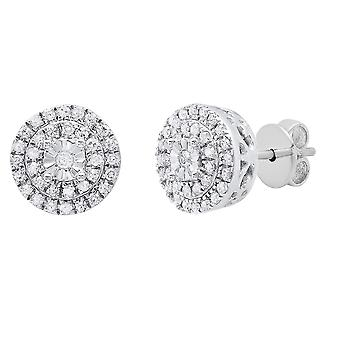 Dazzlingrock Collection 0.20 Carat (ctw) Round White Diamond Ladies Halo Style Stud Boucles d'oreilles 1/5 CT, Sterling Silver