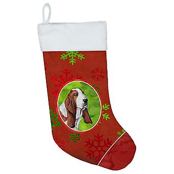 Basset Hound Red and Green Snowflakes Holiday  Christmas Stocking