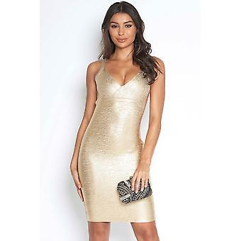Luxe Gold Metallic Bandage Dress
