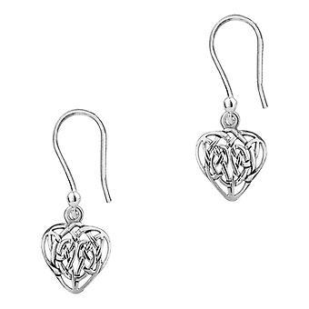 Celtic Eternity Knotwork Love Heart Shaped Drop Style Pair Of Earrings 'Seonaid'