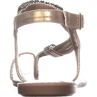 Bar III Womens Vera metallic faux leder platte sandalen goud 7,5 medium (B, M)