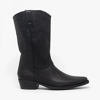 Wrangler Texas Ii Hi Mens Leather Calf Length Cowboy Boots Black