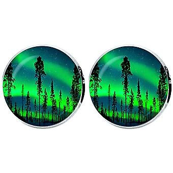 Bassin and Brown Northern Lights and Pine Tree Cufflinks - Green/Blue
