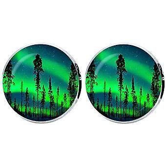 Bassin en bruin noorderlicht en Pine Tree Manchetknopen-groen/blauw