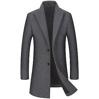 Allthemen Men's Mid-Long Lapel Solid Autumn&Winter Wool Overcoat