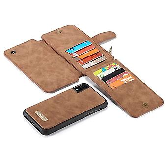 2 in 1 Zipper Wallet Cover for iPhone 11 Brown