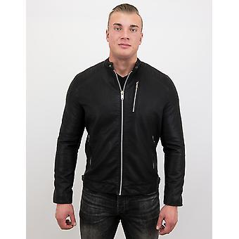 Fake Leather Jacket - Motor Jack - Black